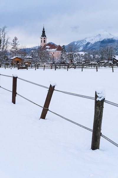 Snowy village of Cerklje