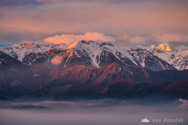The Kamnik Alps from Špica at sunset