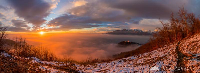 Winter sunset from Špica