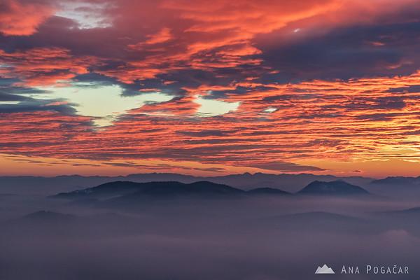 Burning sky above Šmarna gora