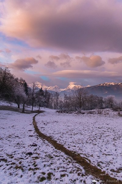 The Kamnik Alps from Stari grad after sunset