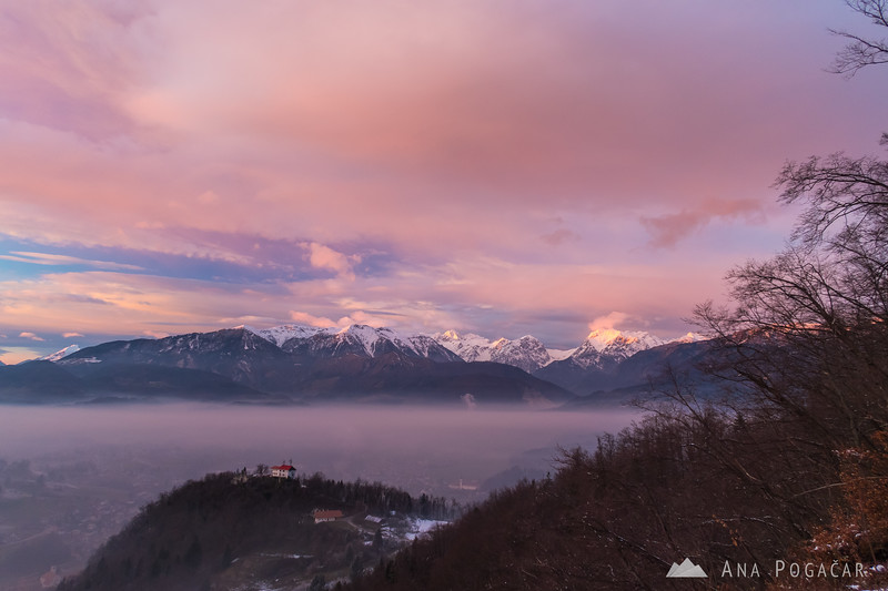 Sky turning pink after sunset from Špica