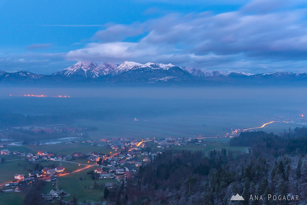 Looking towards the Kamnik Alps from the Smlednik Castle at dusk