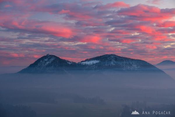 Pink sunset sky above Šmarna gora