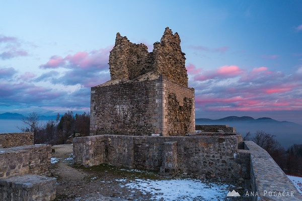 Smlednik castle at sunset