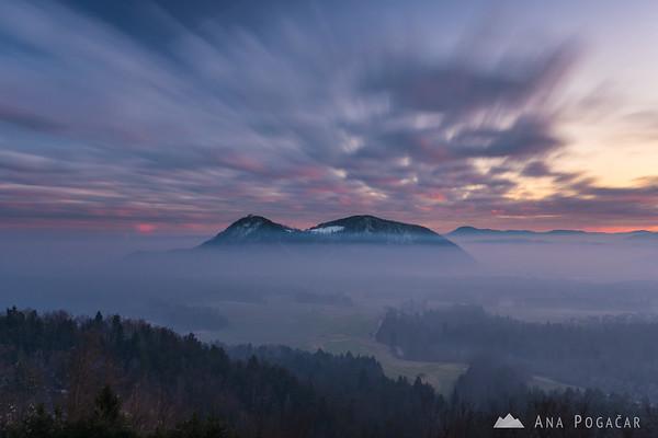 Sunset clouds over Šmarna gora