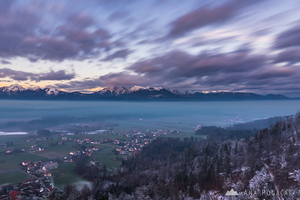 Clouds were moving fast over the Kamnik Alps at sunset