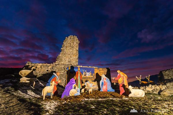 Nativity scene on Stari grad after sunset