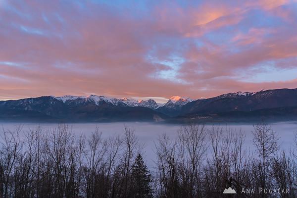 Pink sky over the Kamnik Alps from Stari grad