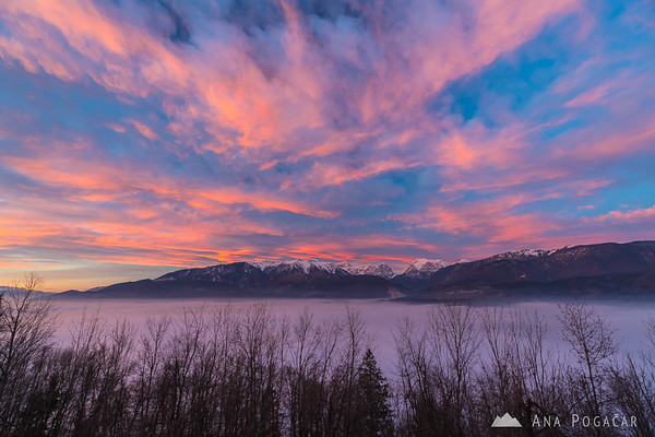 Pink clouds over the Kamnik Alps from Stari grad