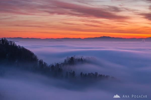 Waves of fog after sunset