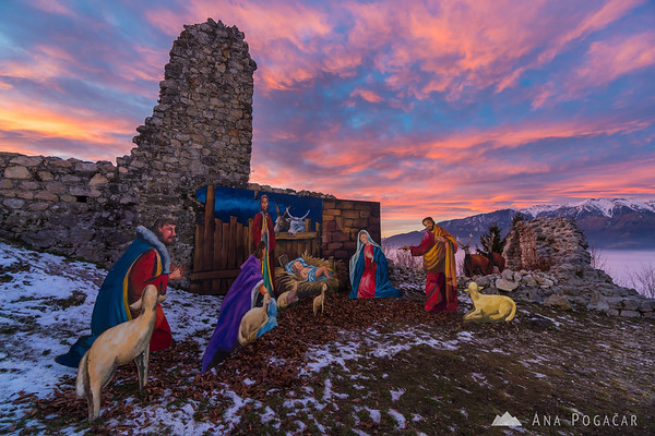 Nativity scene on Stari grad at sunset