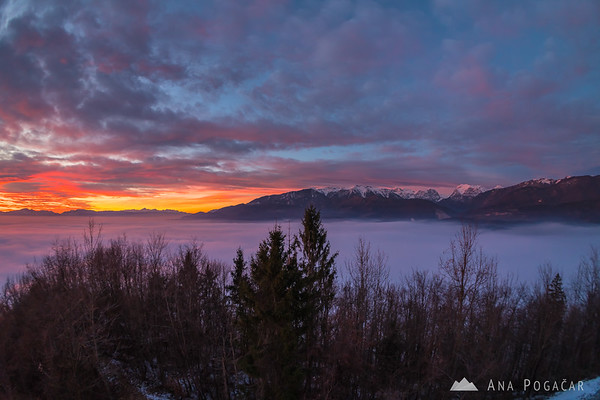 Colorful sunset clouds over the Kamnik Alps from Stari grad