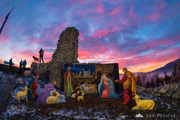 Nativity scene on Stari grad at sunset