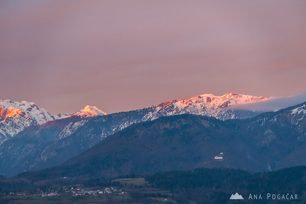 Velika planina and pink skies