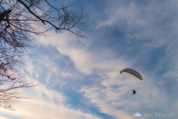 A paraglider above Kamnik