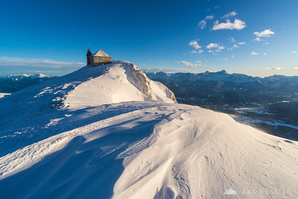 At the summit of Mt. Dobratsch on a windy winter afternoon