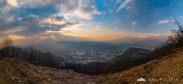 A stitched panorama of the view from Špica