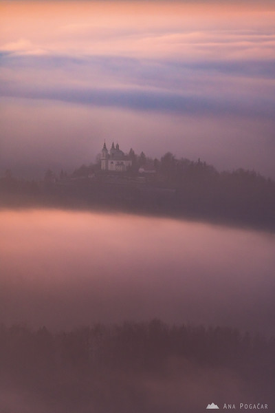 St. Ana church in Tunjice hiding between layers of fog