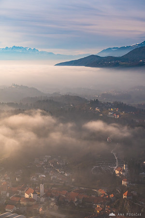 Views of Kamnik from Špica on a sunny but misty day