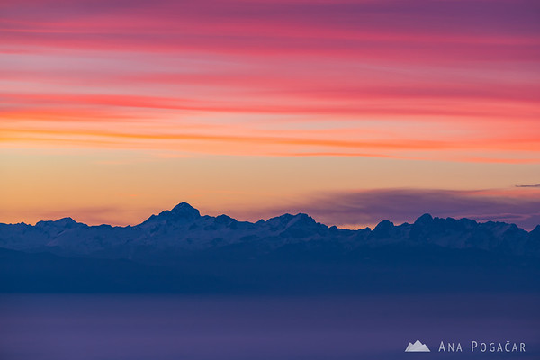 Mt. Triglav and the Julian Alps in the sunset color palette