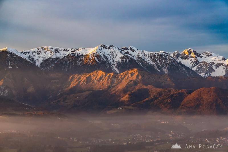 The Kamnik Alps above the mist