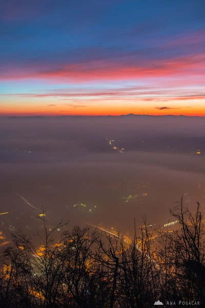 Misty Kamnik from Stari grad at dusk