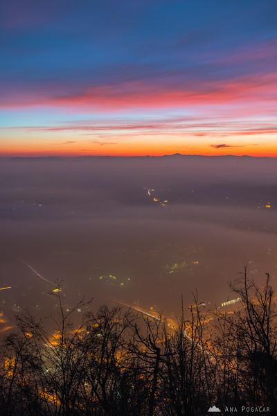 Misty Kamnik from Stari grad at dusk