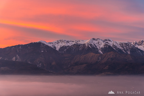 Sunset colors above the Kamnik Alps