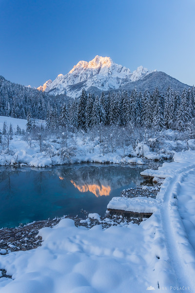 First sunlight on Mt. Velika Ponca reflected in Zelenci