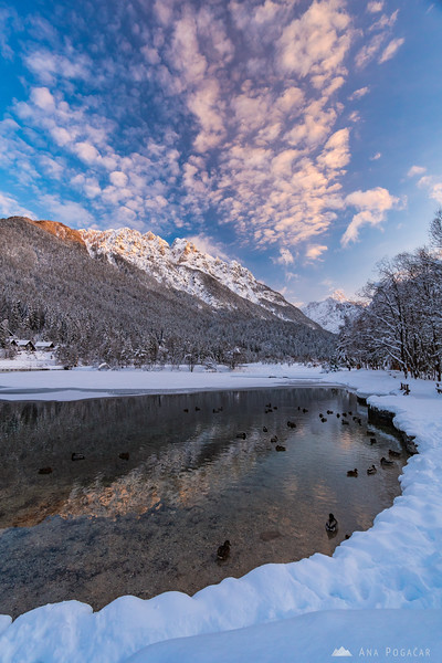 Beautiful winter sunset at Lake Jasna