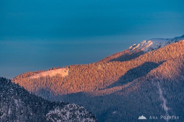 Snowy slopes of Mt. Raduha at sunset