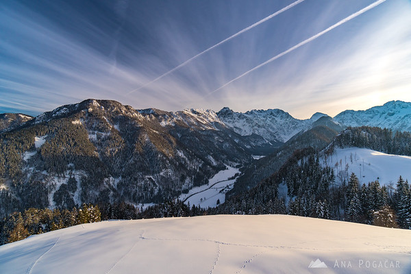 The Logar Valley and Kamnik Alps on a sunny winter afternoon