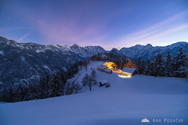 Winter evening above the Logar Valley