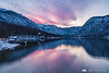 Pink sunset over Lake Bohinj