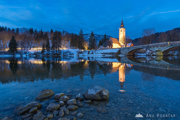Lake Bohinj on a winter evening