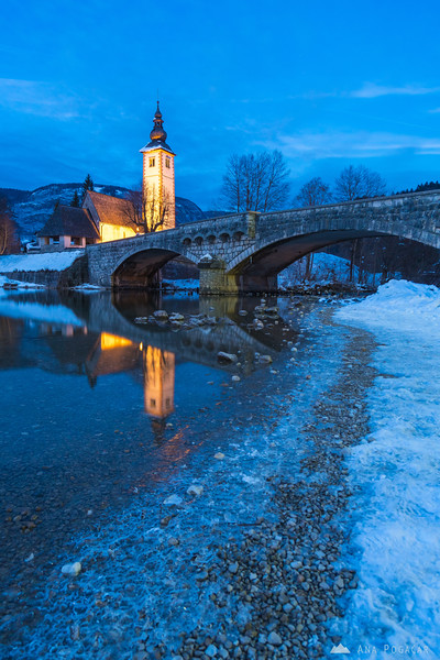Lake Bohinj on a winter evening