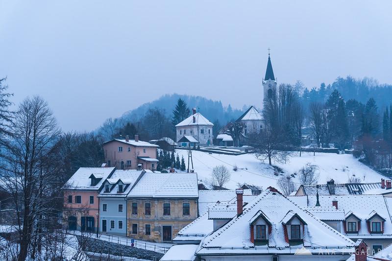 Snowy Kamnik and Mali grad on a cloudy winter afternoon