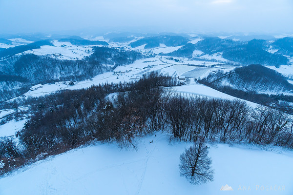 Views from the Plač view tower on a snowy night