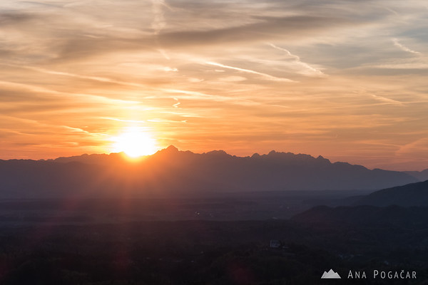 Sun setting behind the Julian Alps