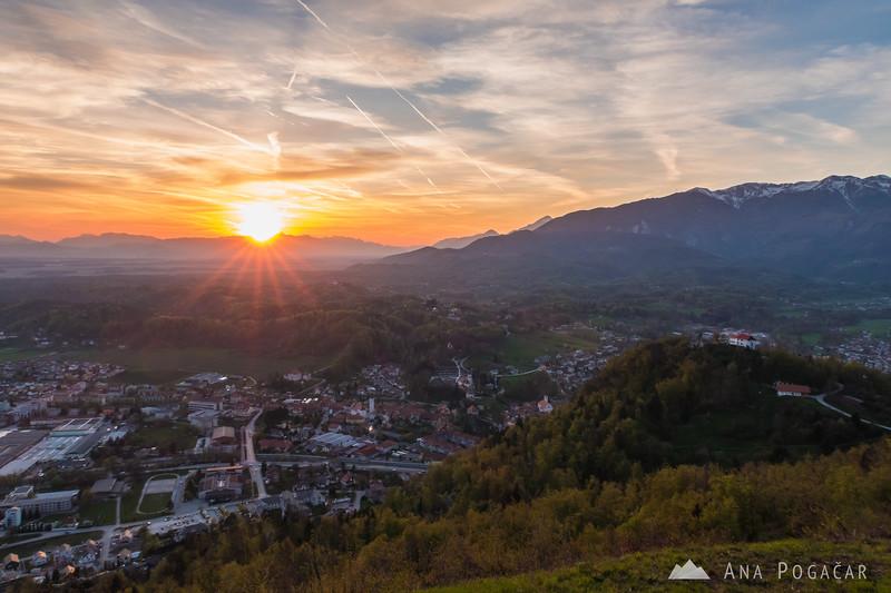 Sun setting behind the Julian Alps