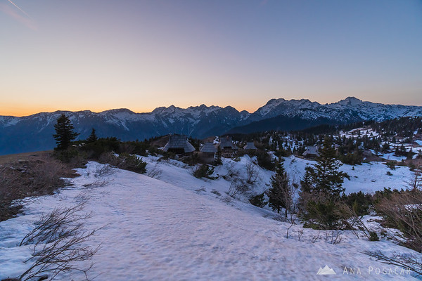 Views of the Kamnik Alps from Velika planina after sunset