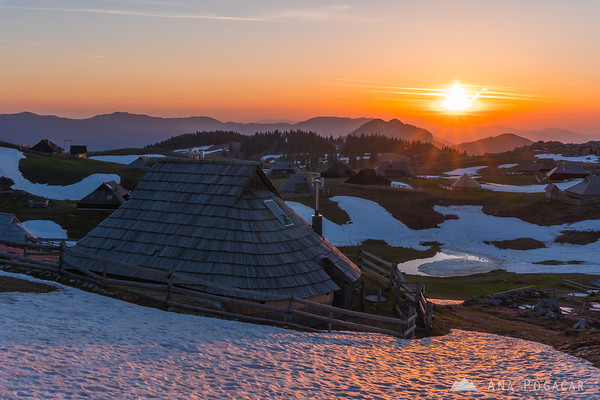 Sunrise on crocus-clad and partly snowy Velika planina