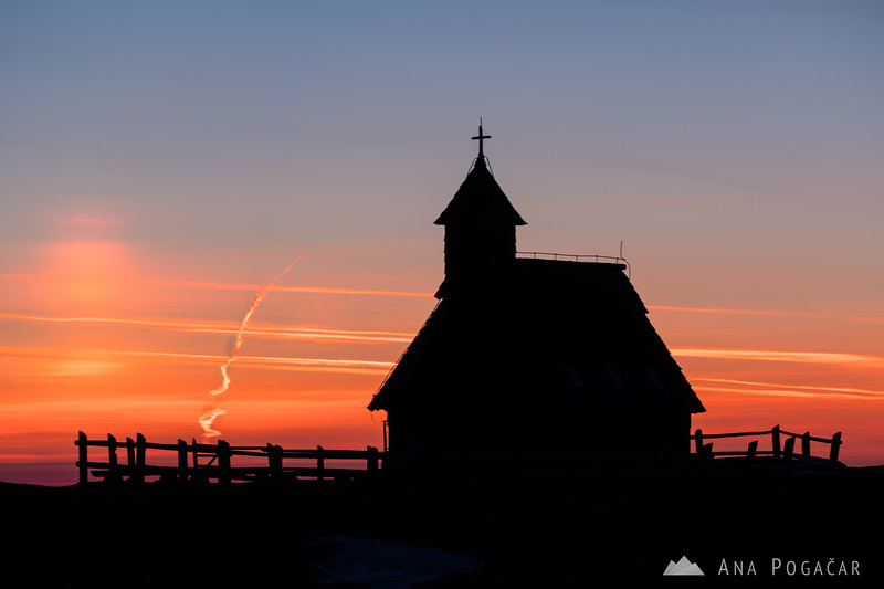 Chapel on Velika planina before sunrise