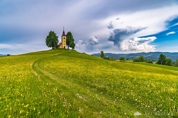 Church in Gorenji Vrsnik on a cloudy spring day