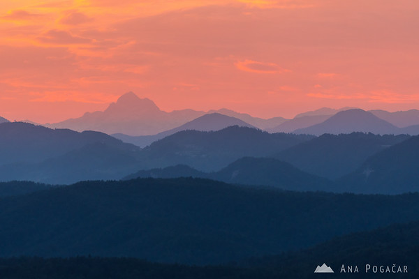Mt. Triglav at sunset as seen from St. Ana hill