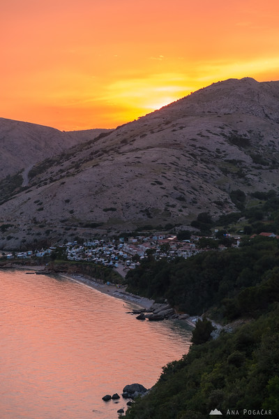 Škrila Campground at sunset