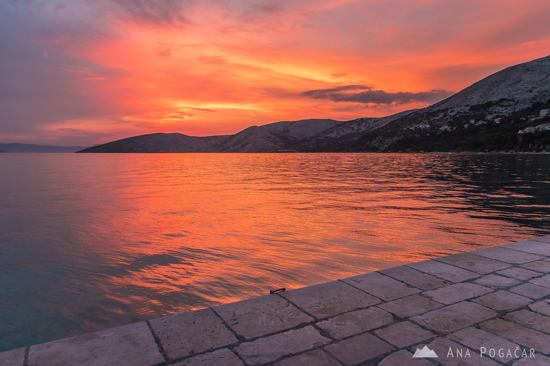 Colorful sunset in Stara Baška