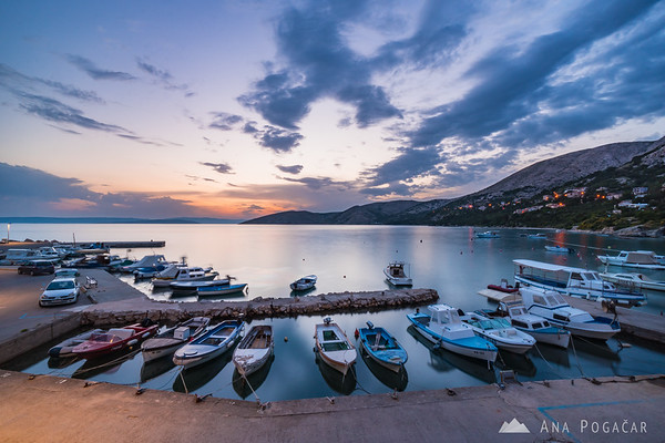 Stara Baška marina after sunset