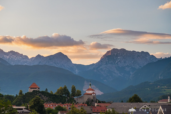 Mali grad and the Kamnik Alps after sunset